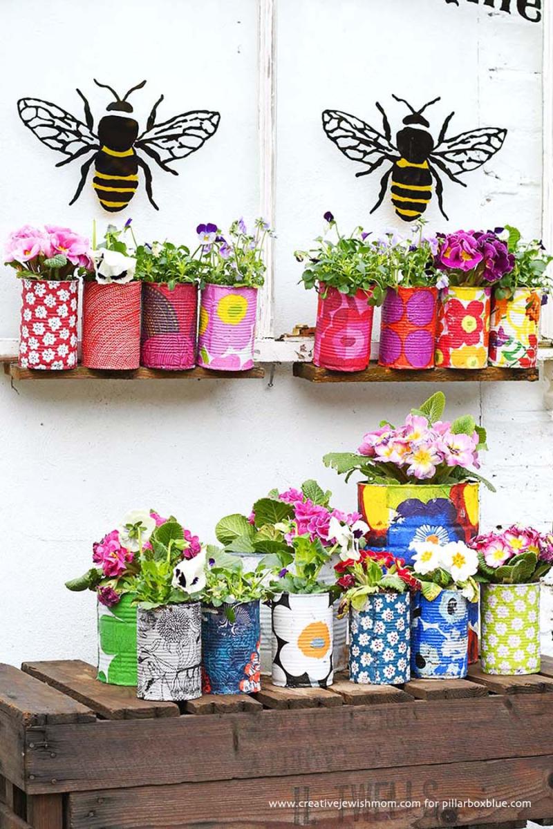 Marimekko-Decorative-tin-can-planters-with-napkin-decoupage