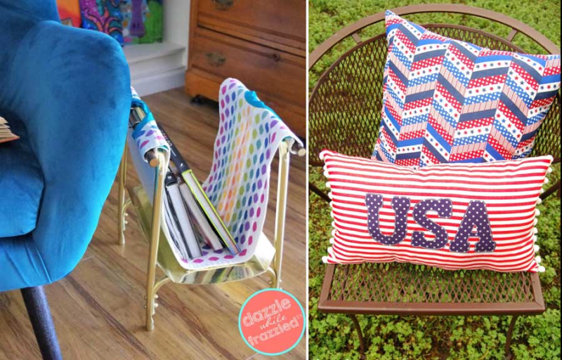DIY-magazine-wrack-from-wood-holder USA-pom-pom-pillow