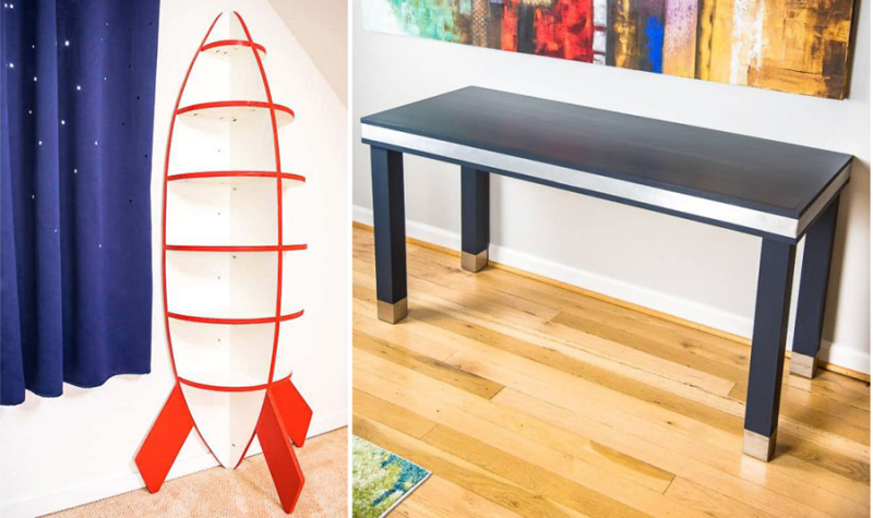 DIY rocket shaped bookshelf DIY wood and metal desk