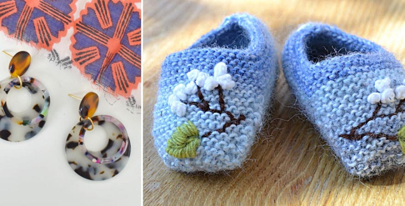 Embroidered knit baby booties tortoise shell DIY earings