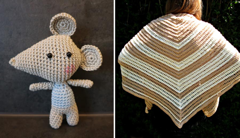 Crocheted amigurumi mouse double crochet shawl
