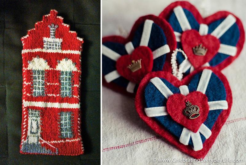 Knit dutch house pencil case felt union jack heart