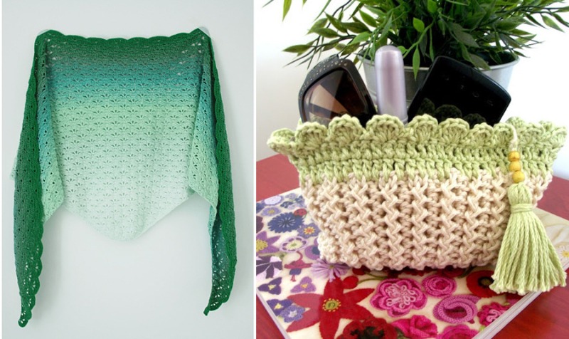Crocheted makeup pouch with tassel crocheted shawl with leaf shapes
