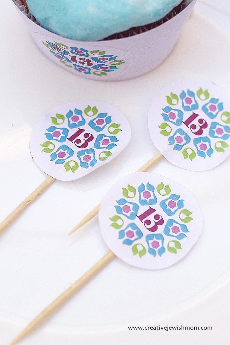 Logo Cupcake Toppers For Bar Mitzvah