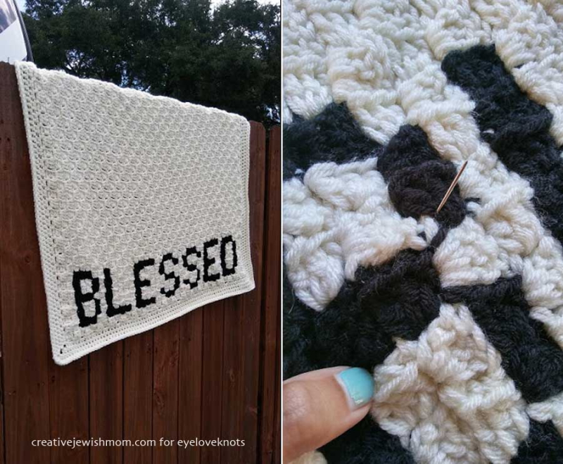 C2C crocheted blanket with letters