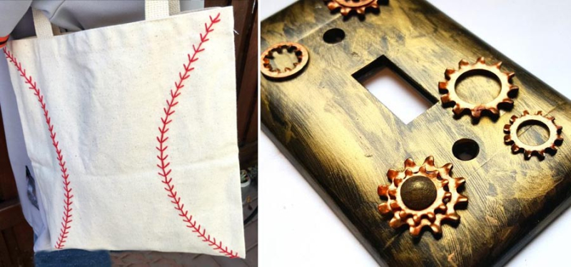 Baseball embroidered bag switchplate with gears