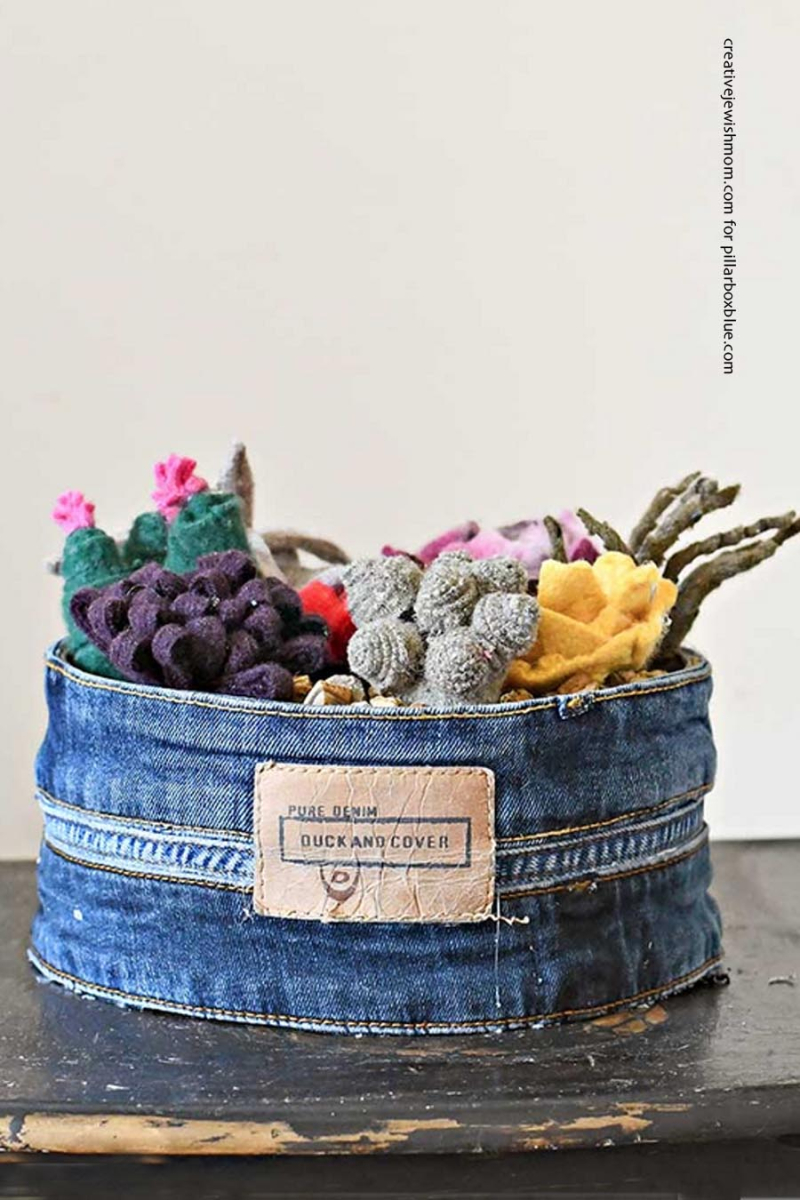 Felted sweaters succulent garden with jeans pot