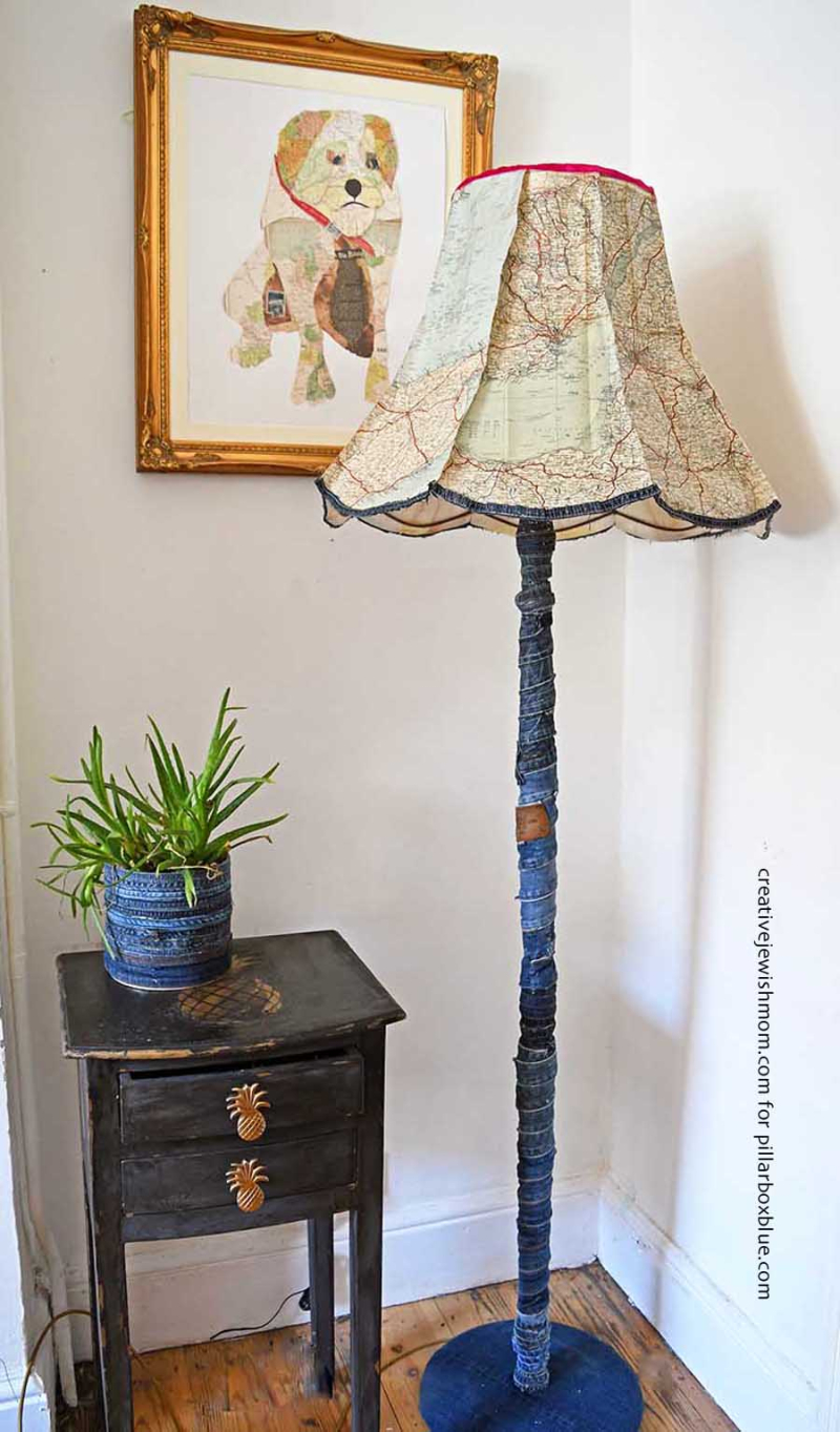 Roadmap paper lampshade with denim covered lamp base