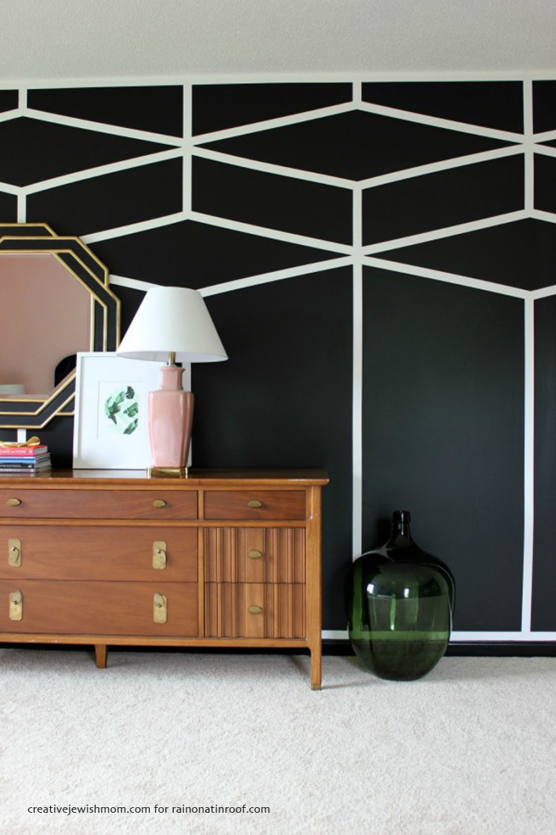 DIY geometric feature wall with white stripes