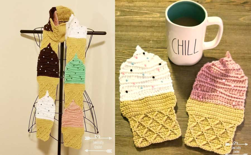 Crocheted ice cream cone scarf