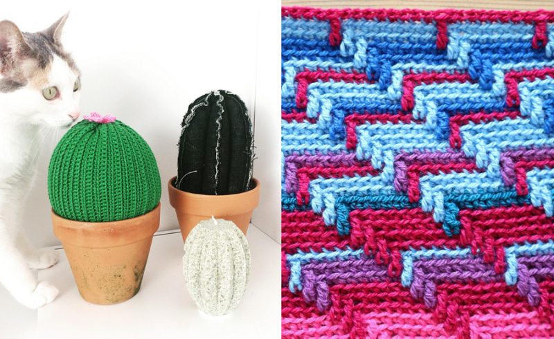 Crocheted cactus crocheted running zig zag stitch