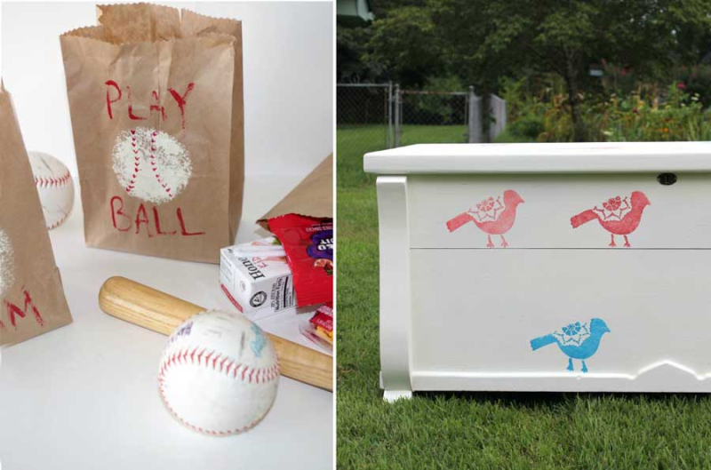 Stencilled birds toy chest baseball party snack bags