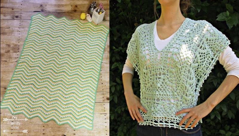Crocheted lacy vest crocheted zig zag baby blanket