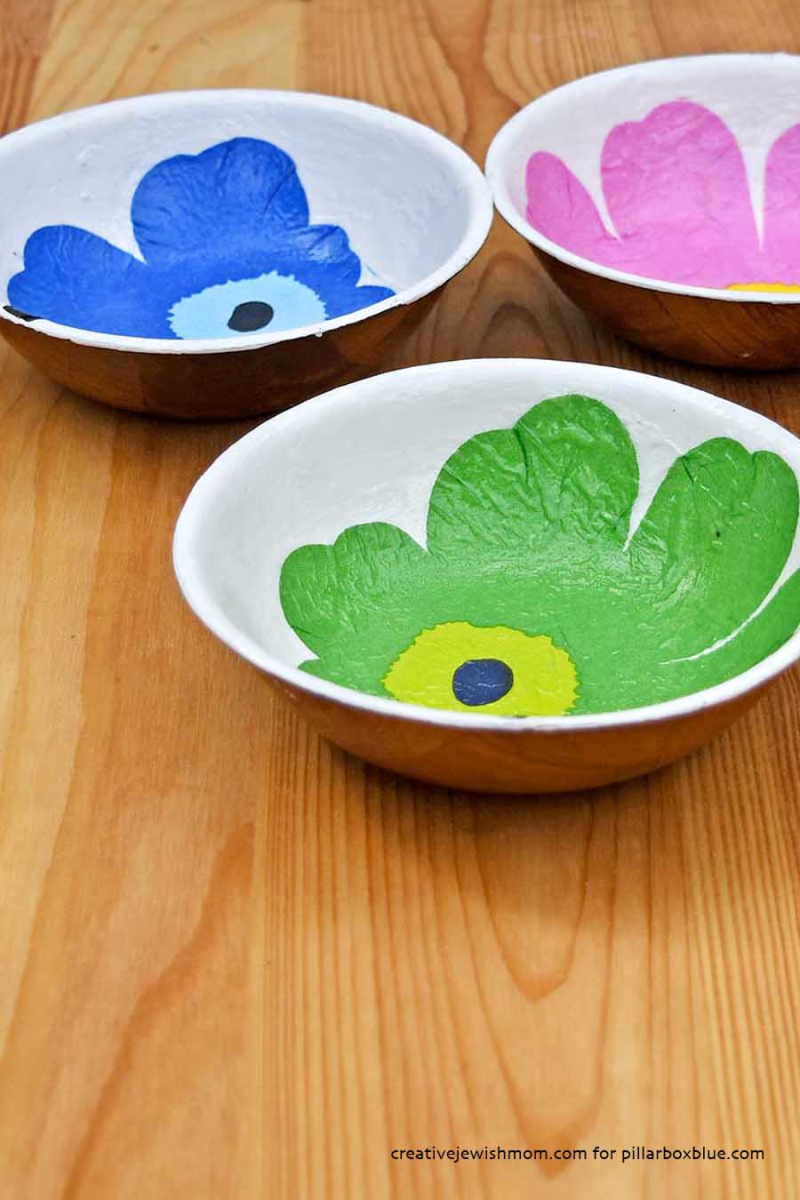Marimekko-decoupage-on-wood-bowl