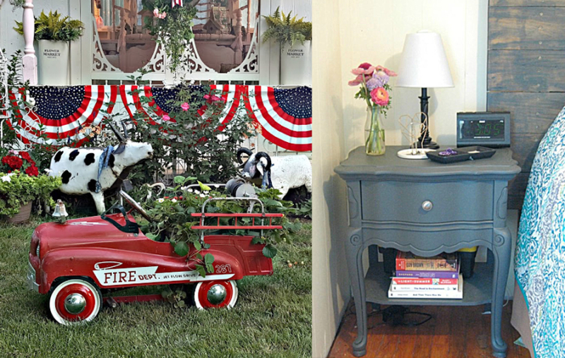 Fire truck toy planter night table re-do