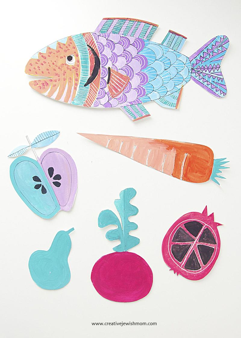 Rosh HaShana fish pomegranite carrot Craft