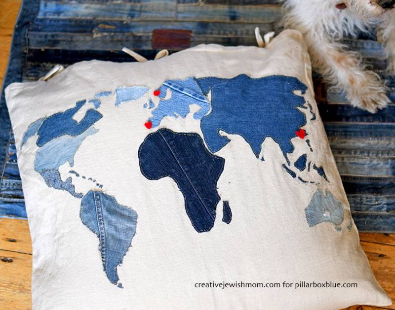 Applique-denim-world-map-pillow-s