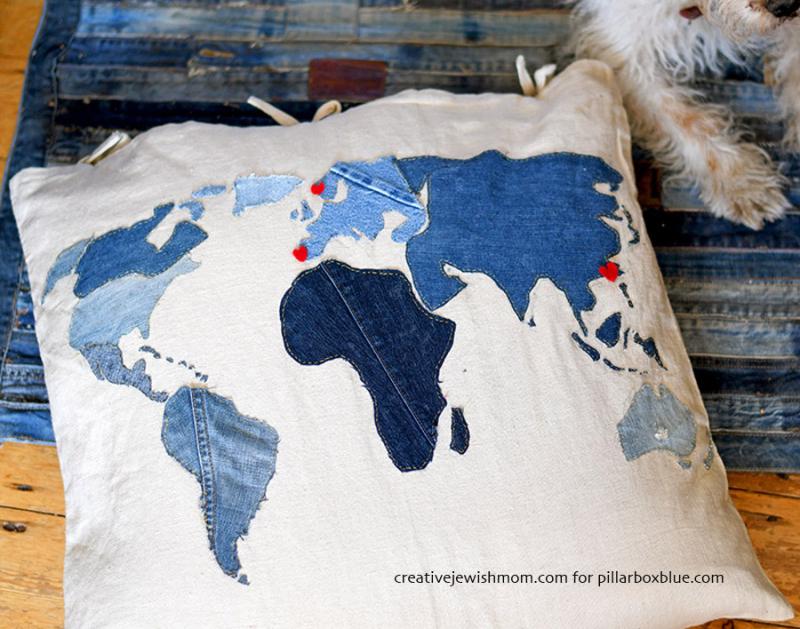 Applique-denim-world-map-pillow-s