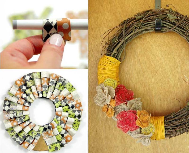 Paper-ruffle-wreath painted-burlap-flowers-wreath