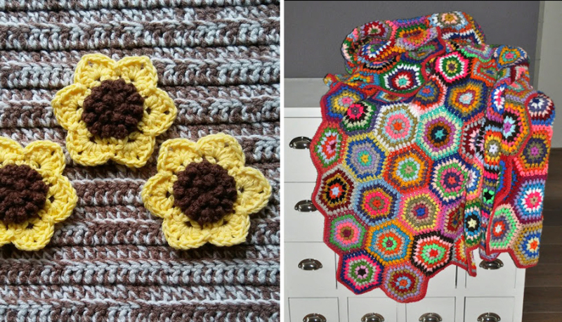Crocheted granny hexigon blanket crocheted sunflower