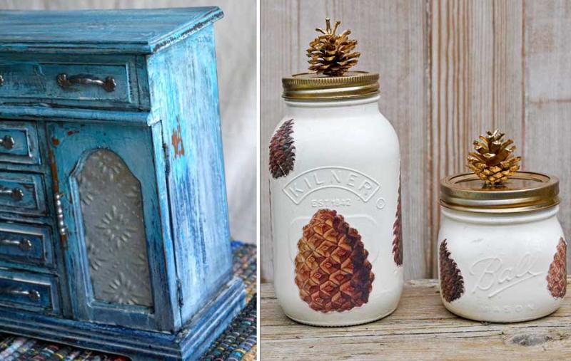 Pine-cone-fall-mason-jars distressed-jewelry-box