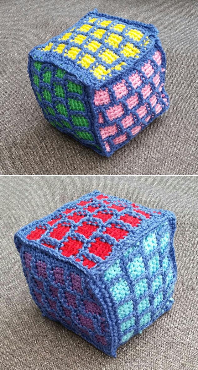 Crocheted baby block