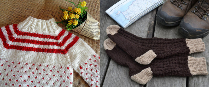 Knit-doll-mock-turtle-sweater chunky-winter-socks-brown-tan