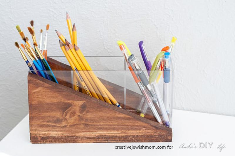DIY-Pencil-holder-plexiglass-wood