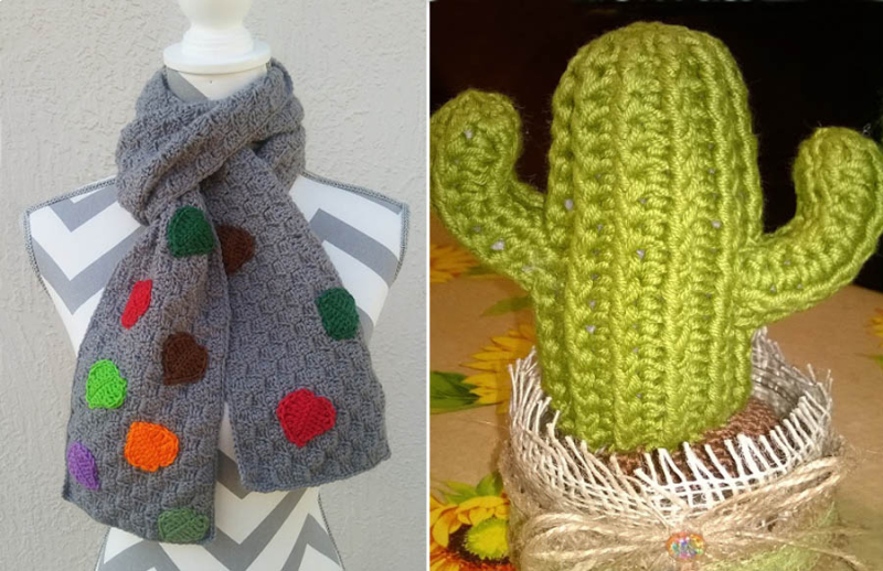 Crocheted-leaf-applique-scarf crocheted-cactus