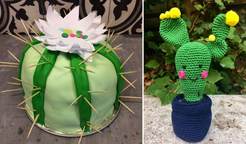 Cactus-birthday-cake crocheted-cactus
