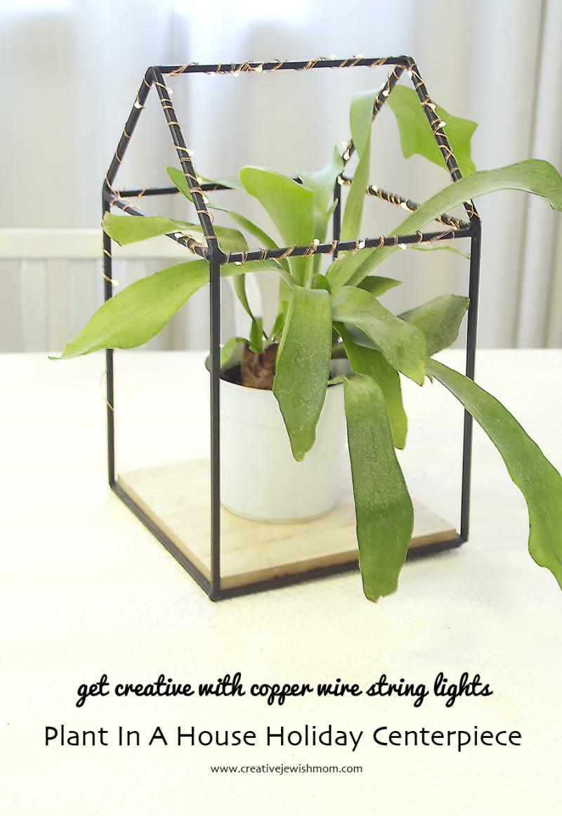Mason-jar-string-light-Holiday-Centerpiece-plant-in-house