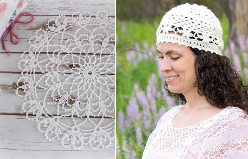 Crocheted-lacy-hat-with-flower-border lacy-doily