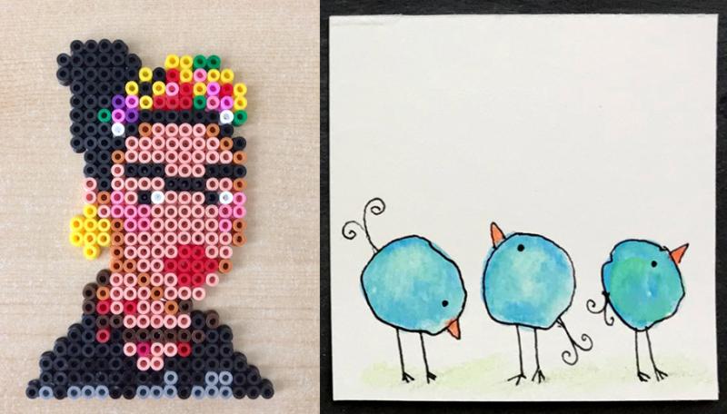 Frida-kahlo-perler-bead bird-doodles