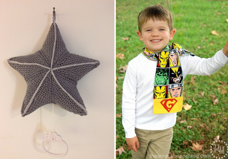 Crocheted star music box toddler-superhero-scarf