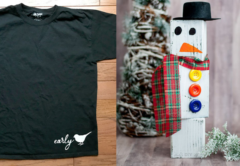 DIY-wood-block-snowman early-bird-t-shirt