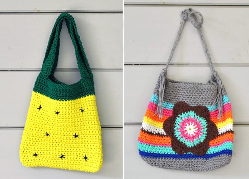 Crocheted pineapple bag crocheted striped bag