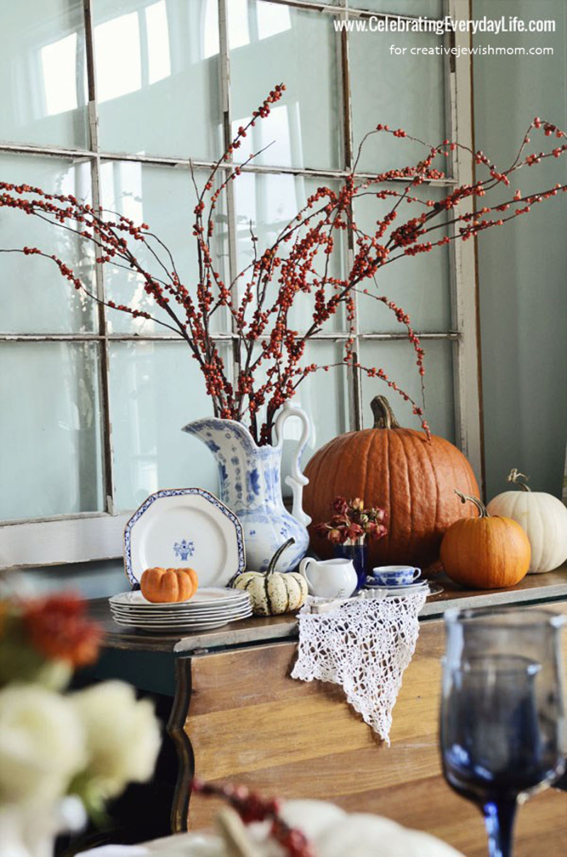 Fall arrangement with pumpkins
