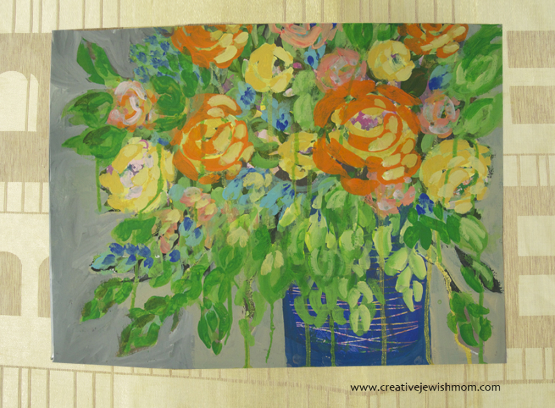 Loose Floral Painting Roses With Blue Vase