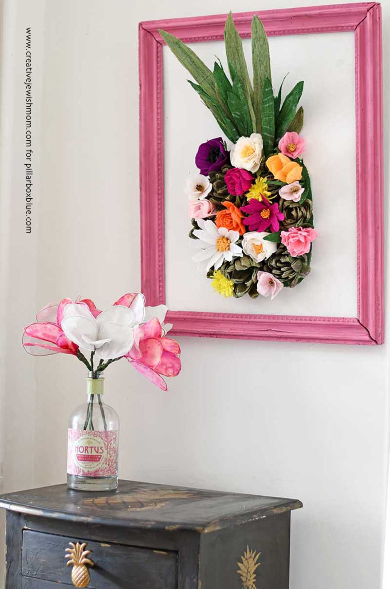 DIY paper flower cactus wall art