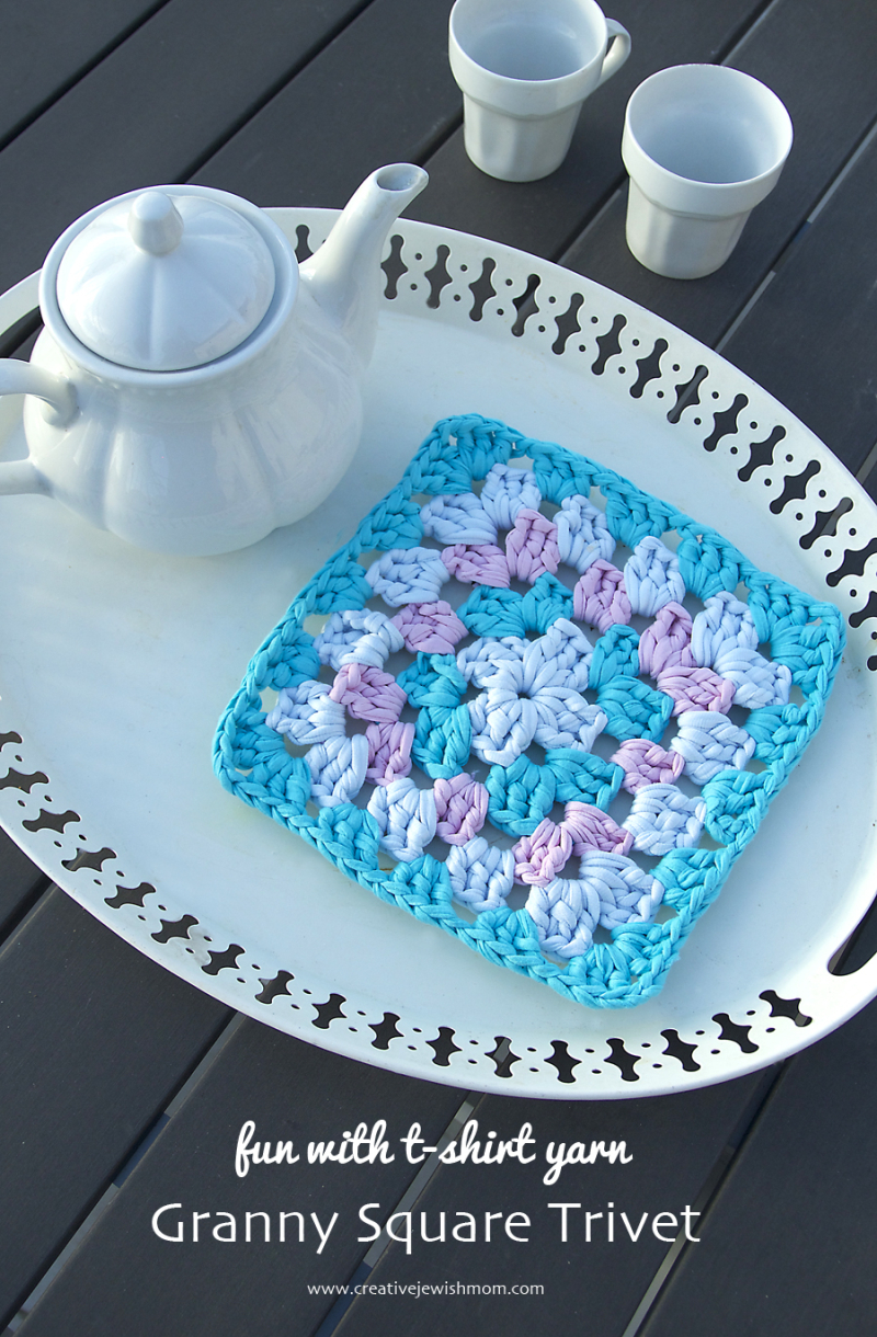 Granny square trivet t-shirt yarn