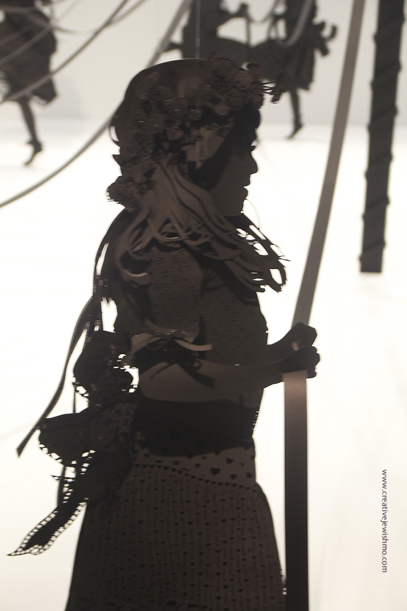 Paper silhouette girl sculpture