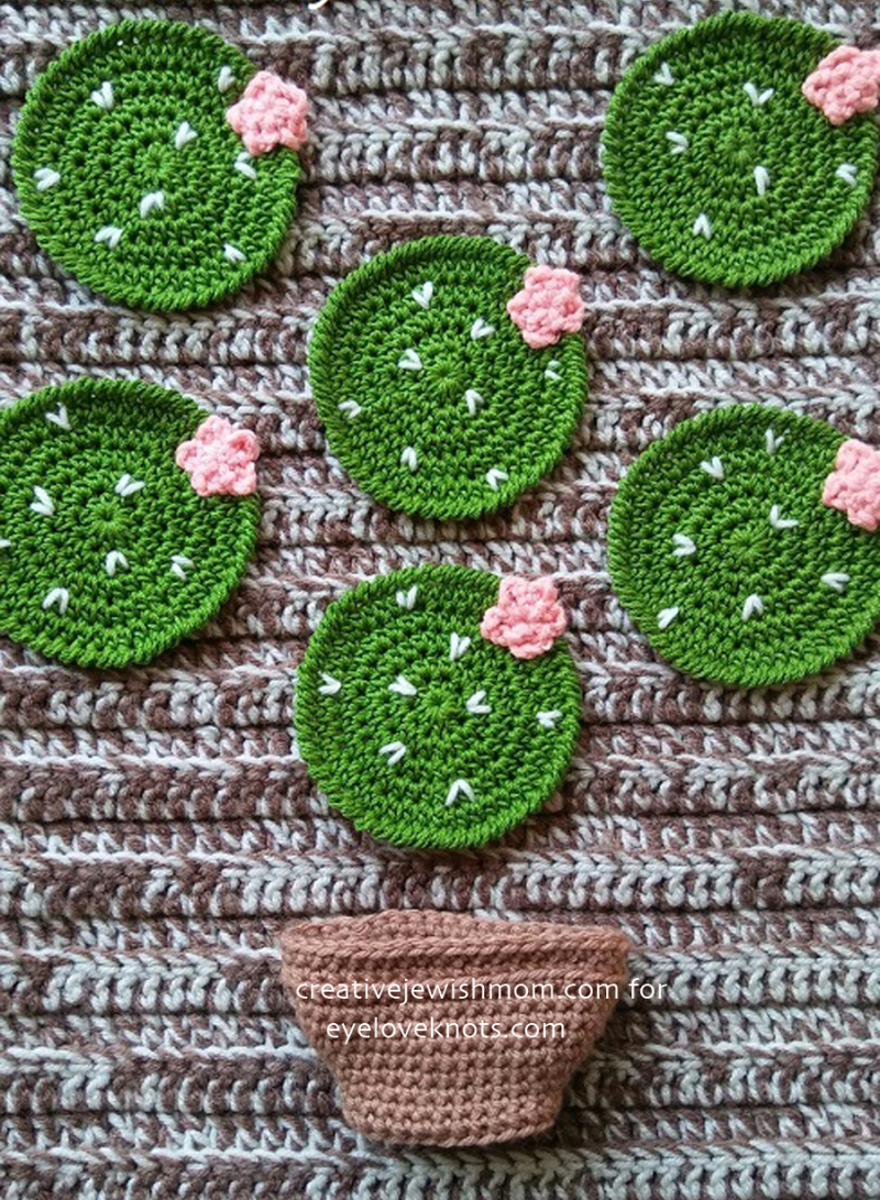 Crocheted-cactus-coasters-in-pot