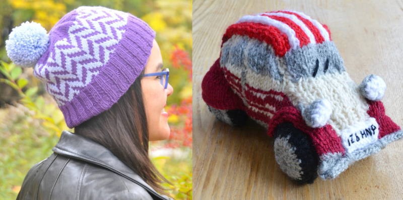 Knit herringbone hat knit car