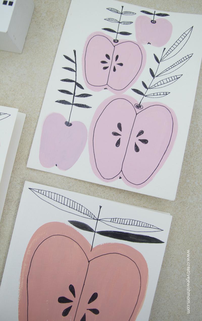 Rosh Hashana Card Craft Painted Apples