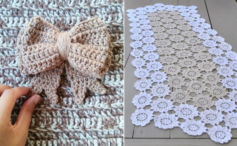 Large crocheted bow crocheted flower table runner