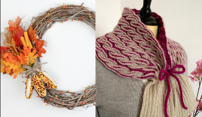 Diy fall willow wreath knit cable cowl