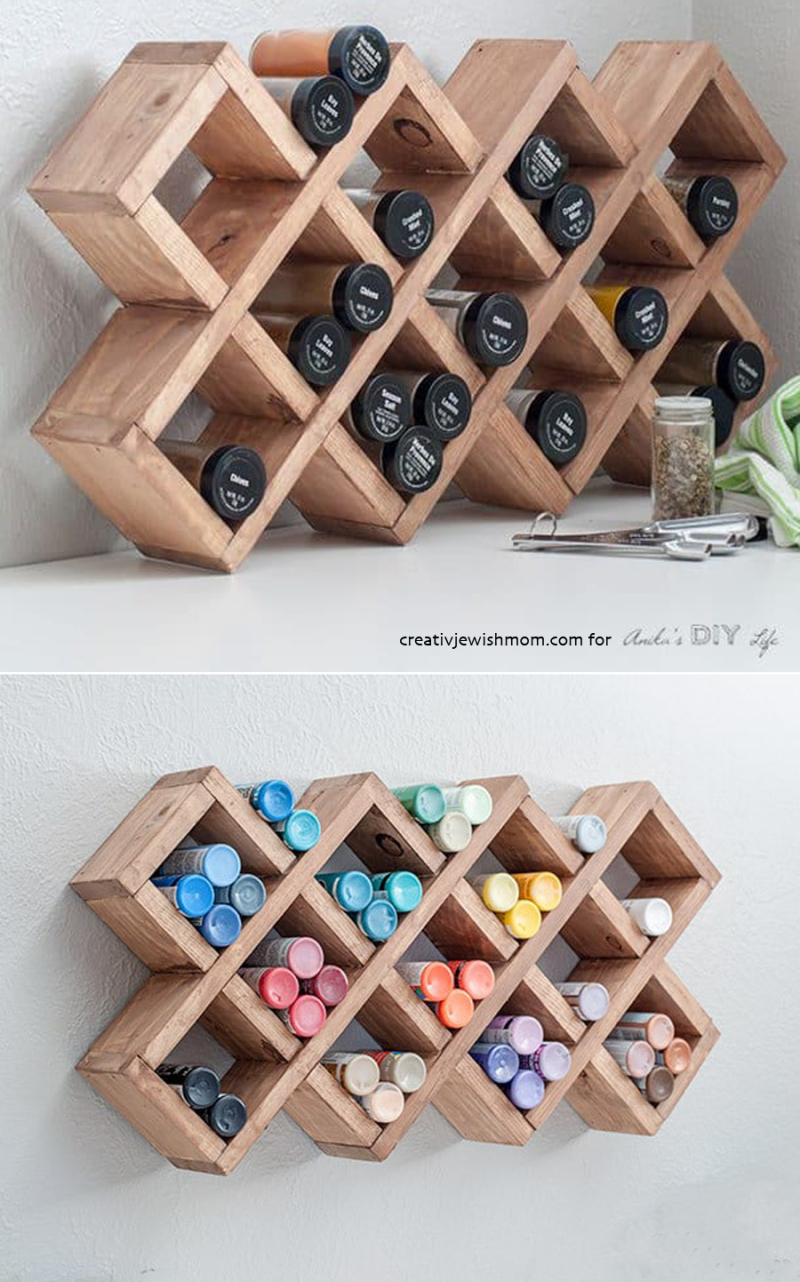 DIY-wood-grid-spice-rack-cubbies-from-wood-scraps