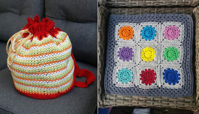 Crocheted granny chair pad crocheted drawstring bag