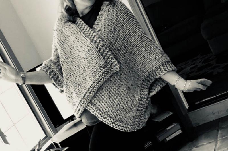 Knit chunky kimono sweater