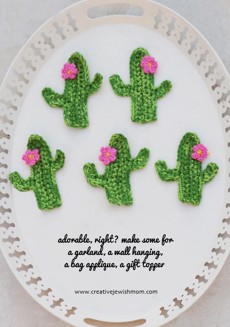 Crochet Cactus applique with flower
